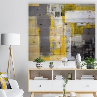 Designart 'Grey and Yellow Blur Abstract' Abstract Print on Natural Pine Wood