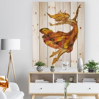 Designart 'Fire Ballerina' Portrait Print on Natural Pine Wood - Brown
