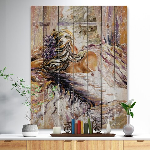 'The River over the Girl' Abstract Print on Natural Pine Wood - Brown