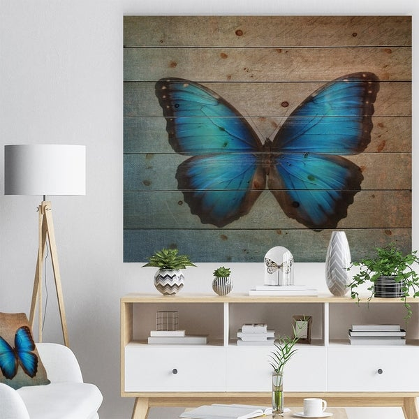 Designart 'Blue Vintage Butterfly' Floral Art Print on Natural Pine Wood - Blue