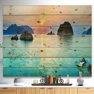 Designart 'Sunrise Panorama' Photography Print on Natural Pine Wood - Blue