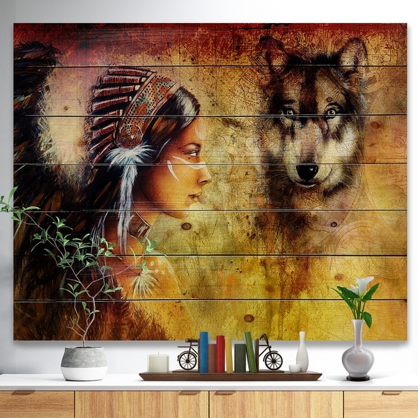 Designart 'Woman with Wolf' Portrait Print on Natural Pine Wood - Brown