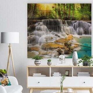 Designart 'Kanchanaburi Province Waterfall' Photography Print on Natural Pine Wood - Green
