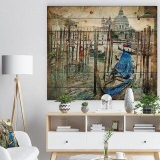 Designart 'Beautiful Venice' Landscape Print on Natural Pine Wood - Blue