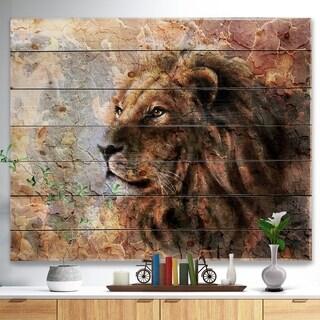 Designart 'Peaceful Lion' Animal Art Print on Natural Pine Wood - Brown
