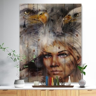 Designart 'Woman with Flying Eagles' Portrait Print on Natural Pine Wood - Grey