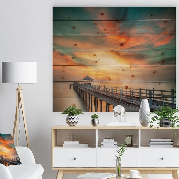 Designart 'Wooden Pier' Landscape Photo Print on Natural Pine Wood - Green