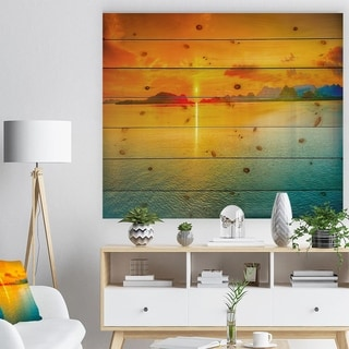 Designart 'Sunset Over Sea Panorama' Seascape Photography Print on Natural Pine Wood - Orange