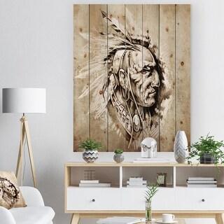 Designart 'American Indian Illustration' Bohemian Print on Natural Pine Wood - White