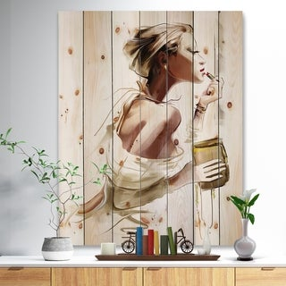 Designart 'Fashion Woman' Fashion Print on Natural Pine Wood - Brown
