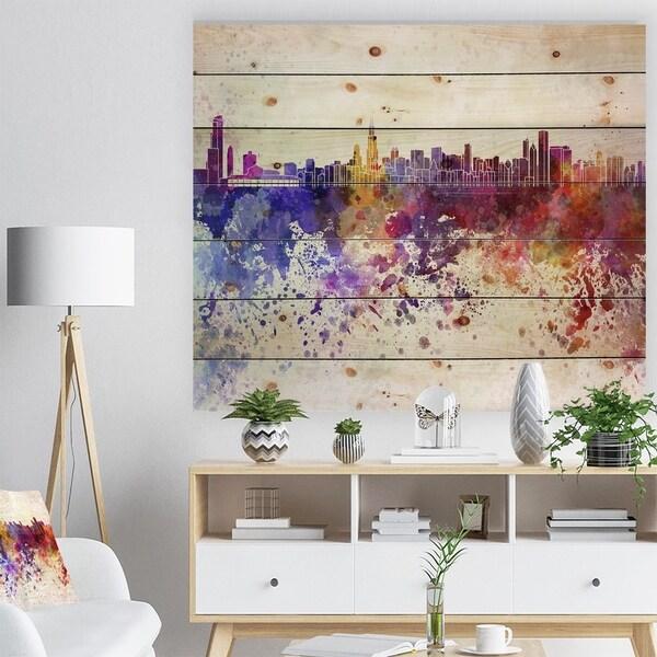 Designart 'Chicago Skyline' Cityscape Print on Natural Pine Wood - Purple
