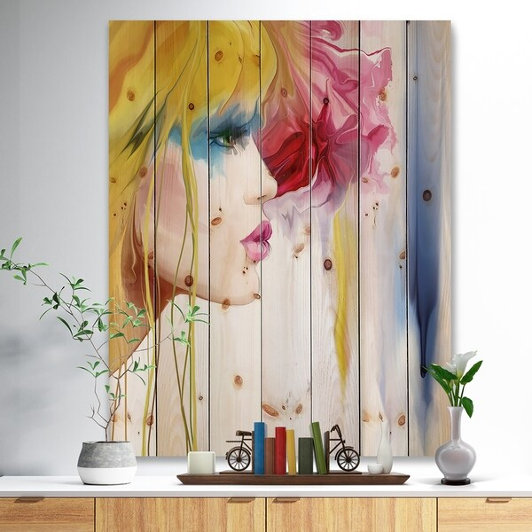 Designart 'Girl with Colorful Hair' Fashion Print on Natural Pine Wood - Yellow