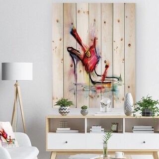 'Red High Heel Shoe' Fashion Print on Natural Pine Wood - Red