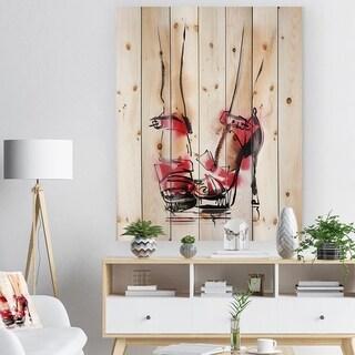 'High Heel Fashion Shoes' Fashion Print on Natural Pine Wood - Red