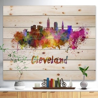 Designart 'Cleveland Skyline' Cityscape Print on Natural Pine Wood - Purple
