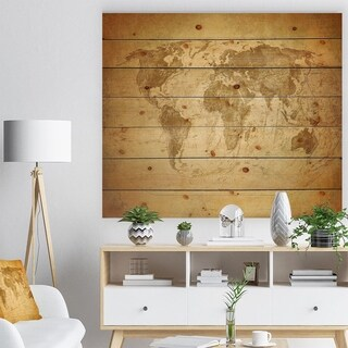 Designart 'Vintage Classic Map' Contemporary Print on Natural Pine Wood - beige