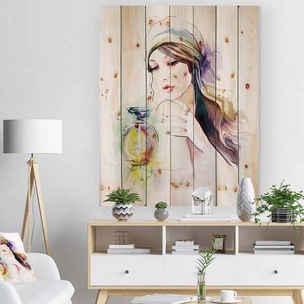 Designart 'Woman with Perfume Bottle' Portrait Contemporary Print on Natural Pine Wood - Yellow