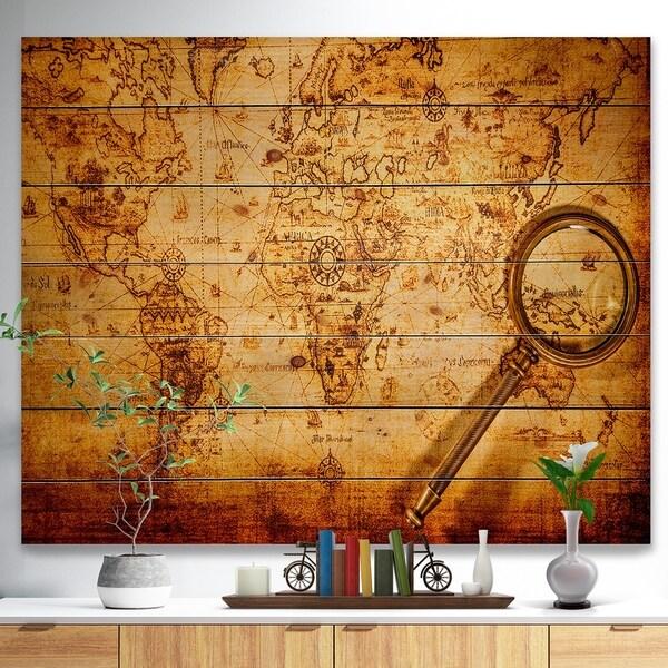 Designart 'Vintage World Map' Vintage Print on Natural Pine Wood - Gold