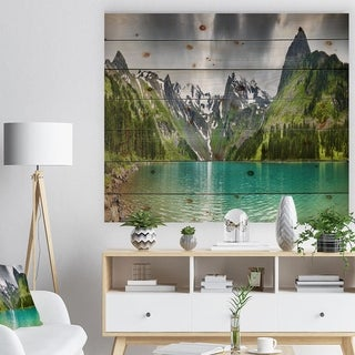 Designart 'Mountain Lake Panorama' Photography Print on Natural Pine Wood - Green