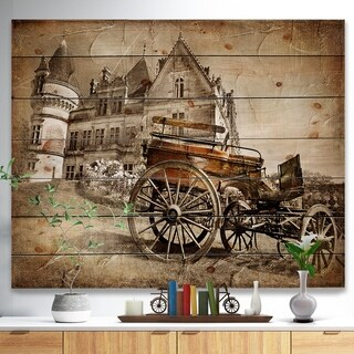 'Medieval Castle with Carriage' Vintage Print on Natural Pine Wood - beige