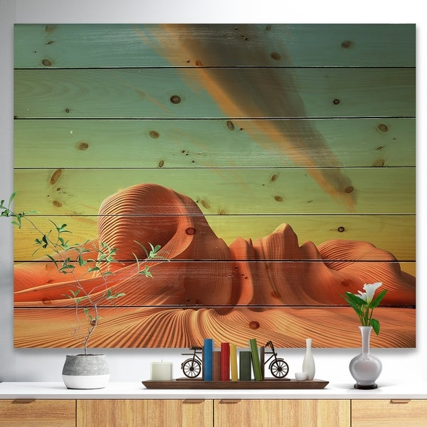 Designart '3D Alien World Surreal Fantasy' Contemporary Print on Natural Pine Wood - beige