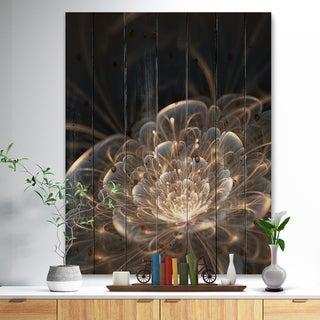 Designart 'Fractal Flower with Golden Rays' Floral Art Print on Natural Pine Wood - Gold