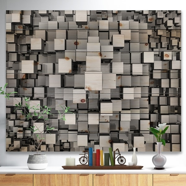 Designart 'Black and Grey Cubes' Contemporary Print on Natural Pine Wood - Silver