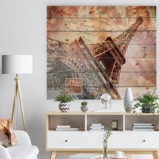 Designart 'Paris Eiffel TowerParis' Contemporary Print on Natural Pine Wood - Brown