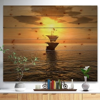 Designart 'Ship and Sunset' Seascape Photography Print on Natural Pine Wood - beige