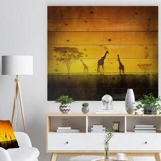 Designart 'African Sunset Aura' Landscape Print on Natural Pine Wood - Orange