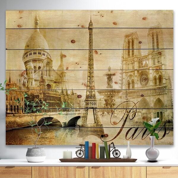 Designart 'Old Beautiful Paris' Cityscape Digital Print on Natural Pine Wood - Brown