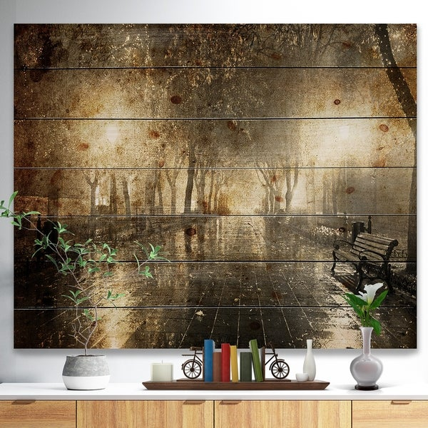 Designart 'Night Alley with Lights' Photography Landscape Print on Natural Pine Wood - Black