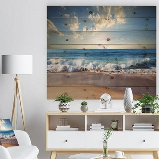 Designart 'Sea Sunset' Seascape Photography Print on Natural Pine Wood - Blue