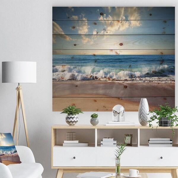 Designart 'Sea Sunset' Seascape Photography Print on Natural Pine Wood - Blue