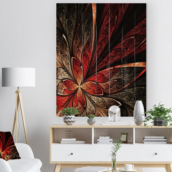 Designart 'Fractal Flower in Yellow and Red' Floral Art Print on Natural Pine Wood - Red