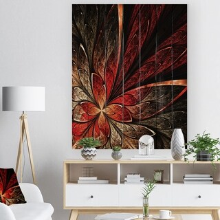 'Fractal Flower in Yellow and Red' Floral Art Print on Natural Pine Wood - Red