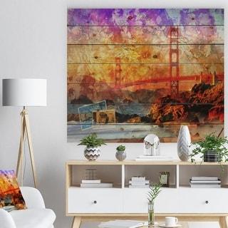 Designart 'San Francisco Bridge' Contemporary Print on Natural Pine Wood - Yellow