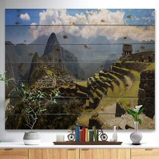 Designart 'Machu Picchu Panorama' Landscape Photo Print on Natural Pine Wood - Green