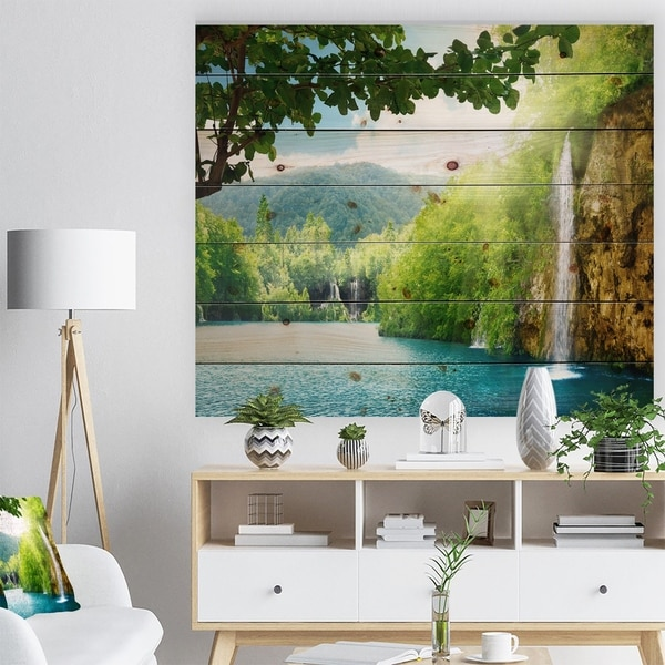 Designart 'Waterfall in Deep Forest' Landscape Photography Print on Natural Pine Wood - Blue