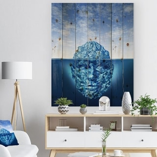 Designart 'Exploration and Discovery' Abstract Print on Natural Pine Wood - Blue