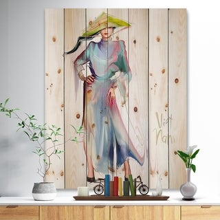 Designart 'Asian Women in Blue Dress' Digital Art Portrait Print on Natural Pine Wood