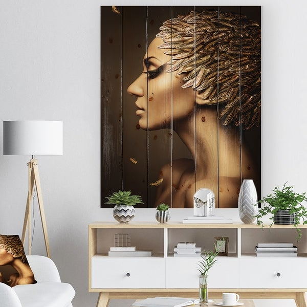 Designart 'Woman with Gold Feather Hat' Contemporary Print on Natural Pine Wood - Brown
