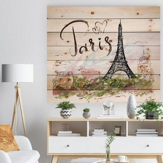 Designart 'Paris Eiffel Towerwith Paris Scribbling' Abstract Print on Natural Pine Wood - Green