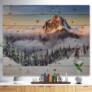 Designart 'Winter Mountain Landscape' Photography Print on Natural Pine Wood - White