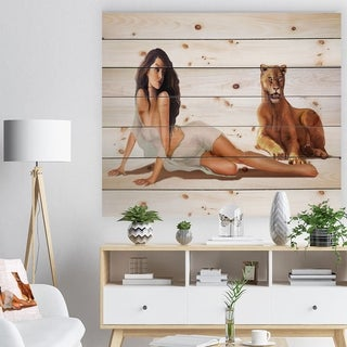 Designart 'Sexy Woman with Lion' Abstract Portrait Print on Natural Pine Wood - Brown