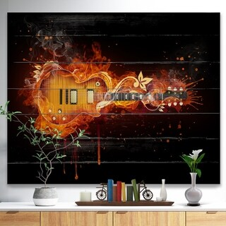 Designart 'Electric Guitar' Abstract Print on Natural Pine Wood - Blue