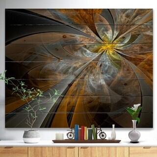 Designart 'Symmetrical Yellow Fractal Flower' Abstract Print on Natural Pine Wood