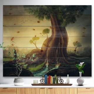 Designart 'Giant Tree with Woman' Abstract Print on Natural Pine Wood - Green