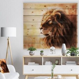 Designart 'Brown Lion Fractal' Bohemian Print on Natural Pine Wood - Brown