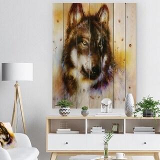 Designart 'Brown Wolf Illustration' Bohemian Print on Natural Pine Wood - Brown